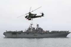 A Marine Corps AH-1Z Viper attack helicopter provides air support for USS America (LHA 6) during a simulated strait transit as part of CERTEX, June 5. (U.S. Navy/MC1 Joseph M. Buliavac)