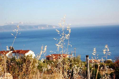 greece kefalonia vlachata ioniansea zante blue grass fence nikond40 eveningsunshine eveningsun