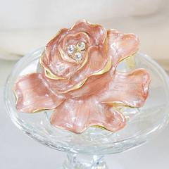 Vintage Frosted Pink Flower Brooch. Pink Swirl Enamel Rhinestone Flower Pin.