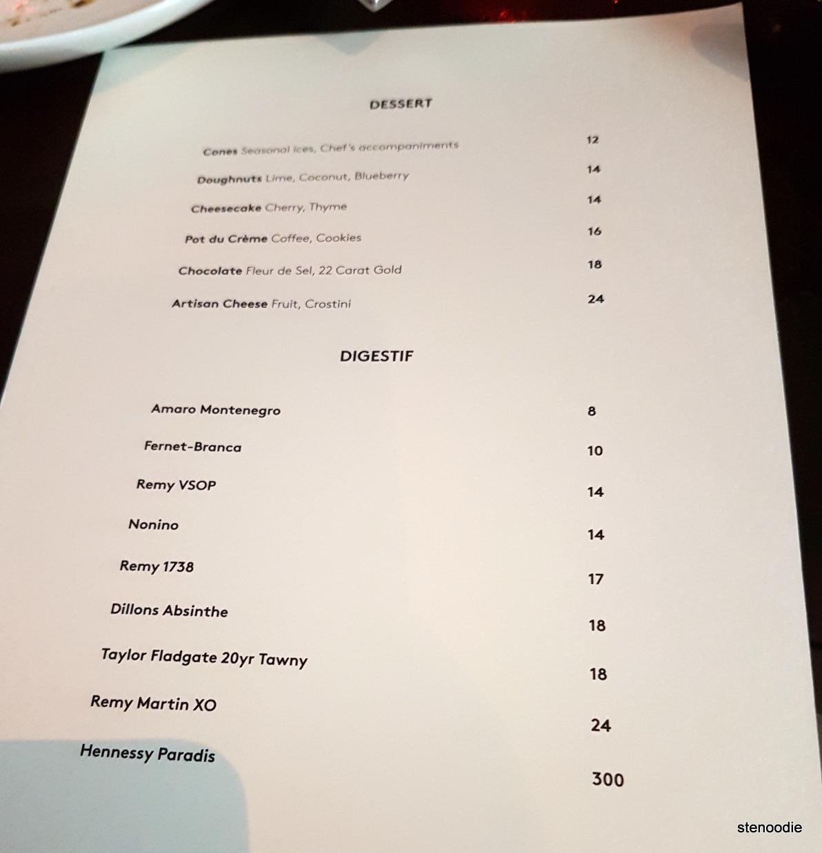 Figures dessert menu