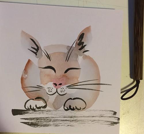 cat bunny sumi-e brush pentell pocket brush