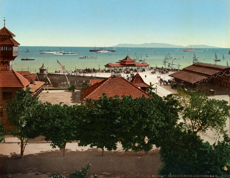 Harbour with arriving mail, Bombay, India, c. 1895