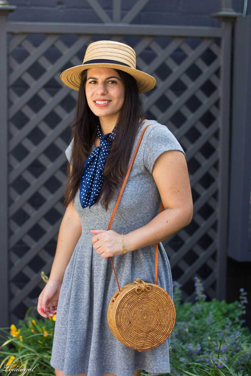grey dress, mules, round rattan bag, straw hat-9.jpg