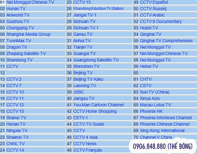 Lắp đặt truyền hình Trung Quốc ở Hồ Chí Minh