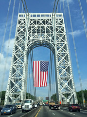 Crossing The George Washington Bridge On Flag Day; Fort Lee, New Jersey