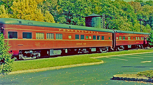 whippany whippanyrailroadmuseum whippanyroad route10 stateroad10 sr10 privaterailcars formerpennsylvaniarailroadcoaches pullmans tuscanred blackroof watertower hanovertownship morriscounty morristownerierailroad me merailyard morristornerierailyard pullmanadlerfalls pullmanmountainview unitedstates usa us railroaddepot railroadstation railcar railyard