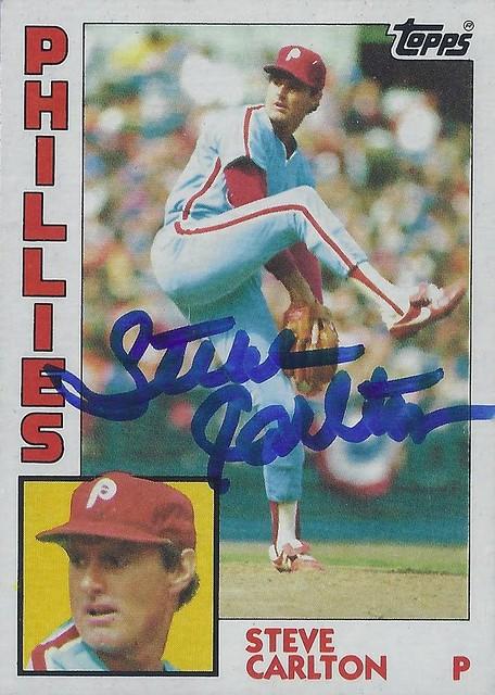 1984 Topps - Steve Carlton #780 (Pitcher) (Hall of Fame 1994) - Autographed Baseball Card (Philadelphia Phillies)