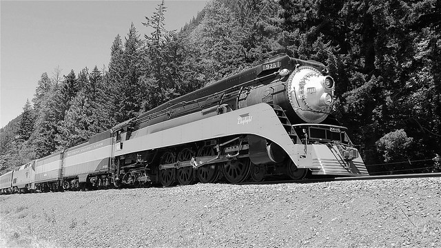 SP 4449 Steam Excursion To Bend Black and White!