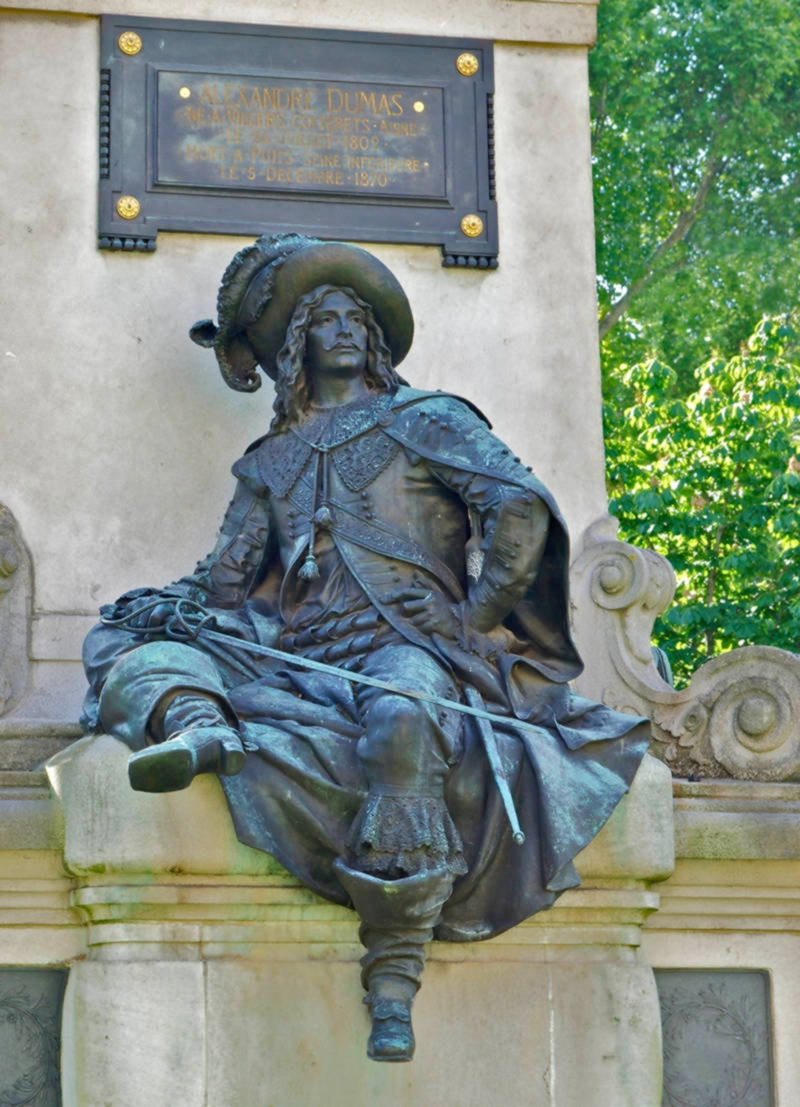 D'Artagnan at the monument to Alexandre Dumas, Paris, France