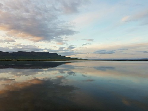 lake laugarvatn iceland water reflection sunset clouds sky mountain laugardalur oeiriks