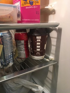 Someone has left this partially consumed McDonald's coffee in the fridge at work for days