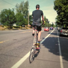 On the way home today, I managed to catch the very last bit of a very quiet Sunday Parkways. Ran into Brock and Aaron of @sprocketpodcast at Peninsula Park. Rode with Brock and his tall bike back to Woodlawn. #sundayparkways #portlandsundayparkways #sunda