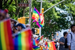 Mayor Bill de Blasio and First Lady Chirlane McCray march in the New York City's Pride Parade in Manhattan on Sunday, June 25, 2017. Benjamin Kanter/Mayoral Photo Office.