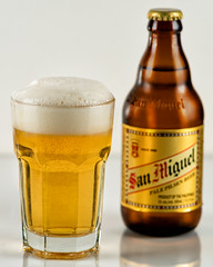A glass of San Miguel