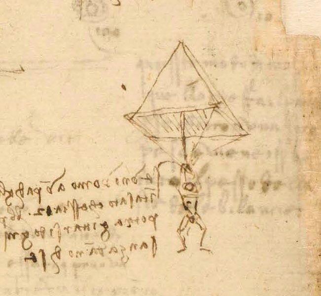 Parachute invented by Leonardo da Vinci