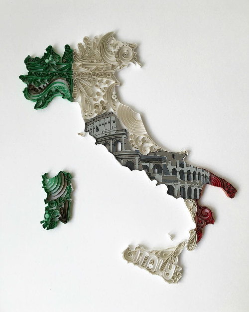 Quilled and Papercut Italy Map by Akiko Makihara