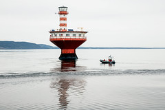 The Phare Du Haut-Fond-Prince light in the  St. Lawrence River off Tadoussac.