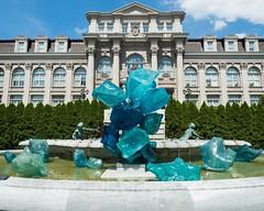 Blue Polyvitro Crystals (2017) at Fountain of Life, Dale Chihuly Exhibit at the New York Botanical Garden