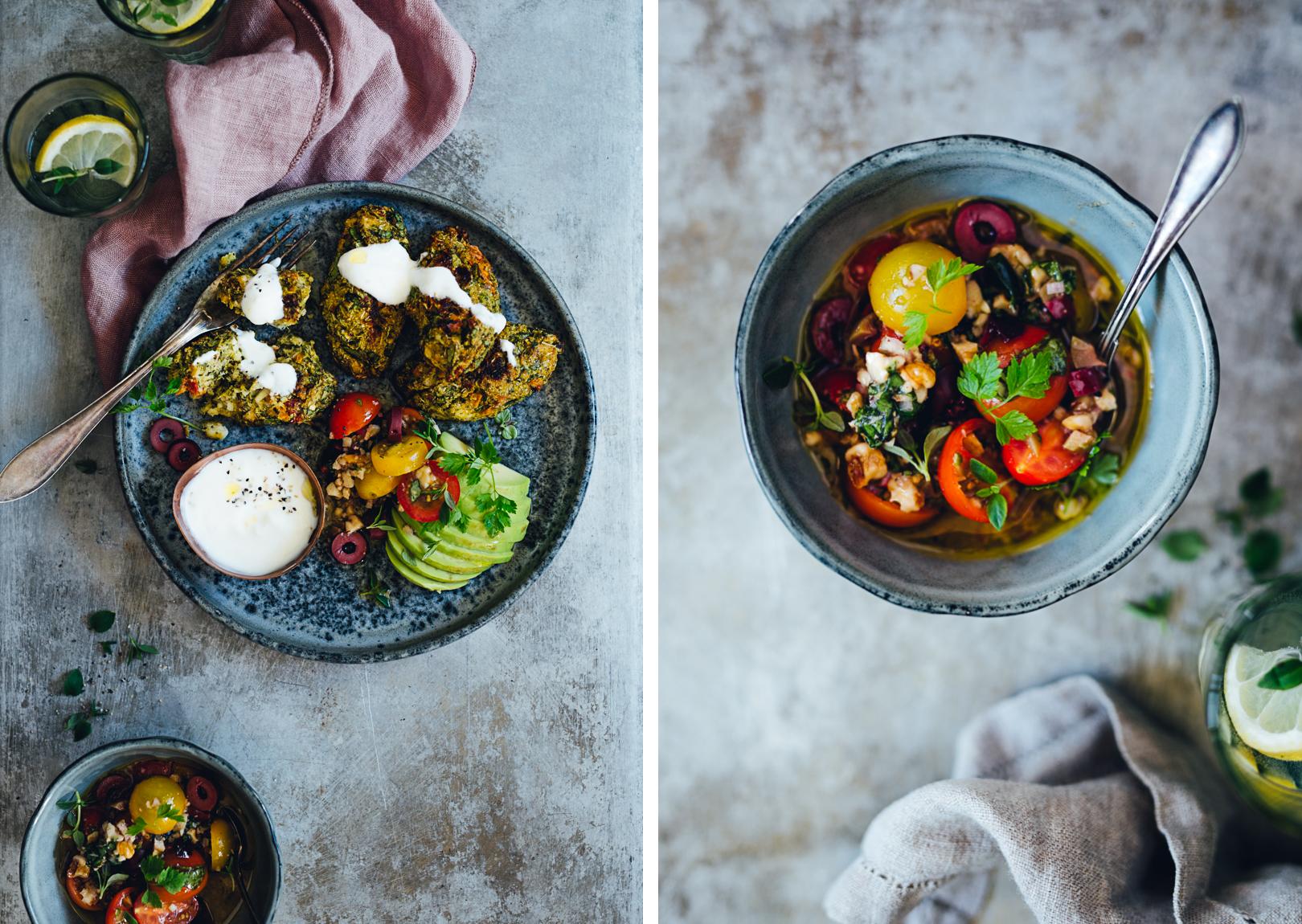 Broccoli & Feta Patties with Tomato Olive Salsa | Cashew Kitchen