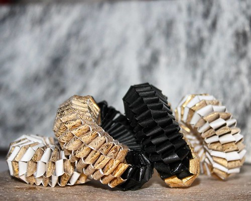 Black, Gold, and White Woven Paper Jewelry by Arual Dem