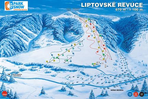 Liptovské Revúce - mapa sjezdovek