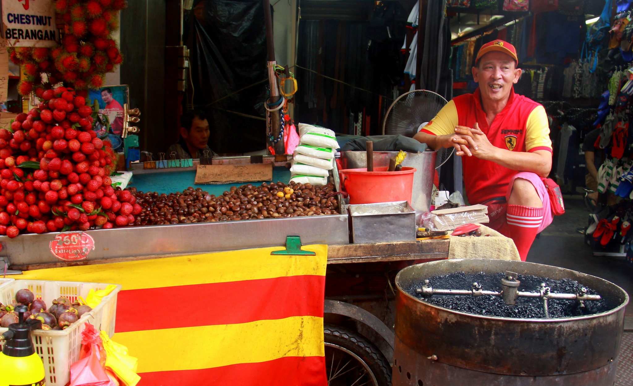 Chestnut seller at Chinatown in Kuala Lumpur