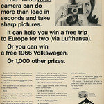 Fri, 2017-06-23 13:49 - Caption: 'This $14.95 rapid camera can do more than load in seconds and take sharp pictures. It can help you win a free trip to Europe for two (via Lufthansa). Or you can win a free 1966 Volkswagen. Or 1,000 other prizes.'  Published in Look magazine, November 30, 1965, Vol. 29, No. 24  Fair use/no known copyright. If you use this photo, please provide attribution credit; not for commercial use (see Creative Commons license).
