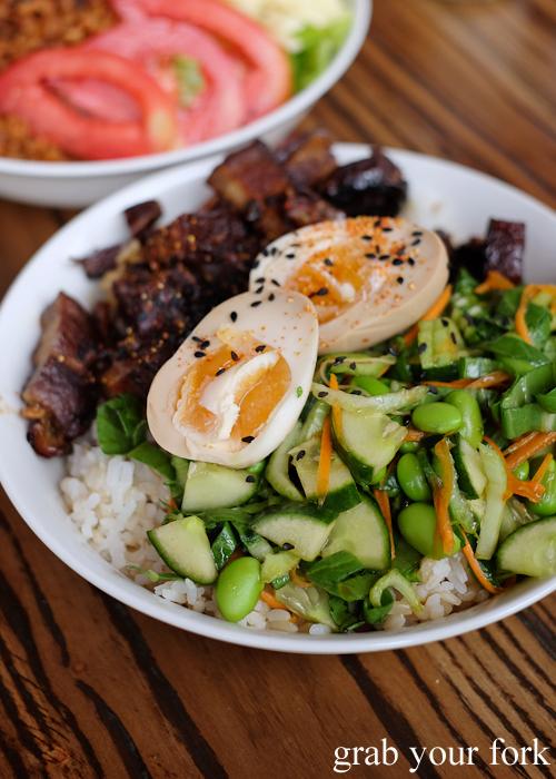 Kakunidon braised pork at Manmaru Japanese bakery cafe in Dulwich Hill Sydney