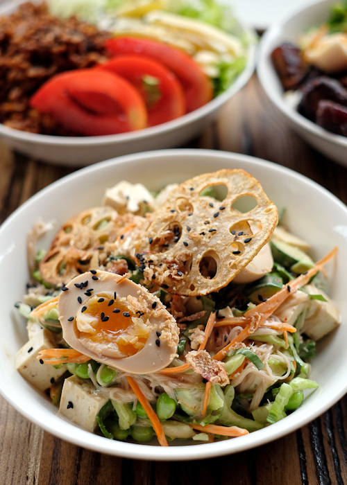 Tofu noodle salad with poached chicken at Manmaru Japanese bakery cafe in Dulwich Hill Sydney
