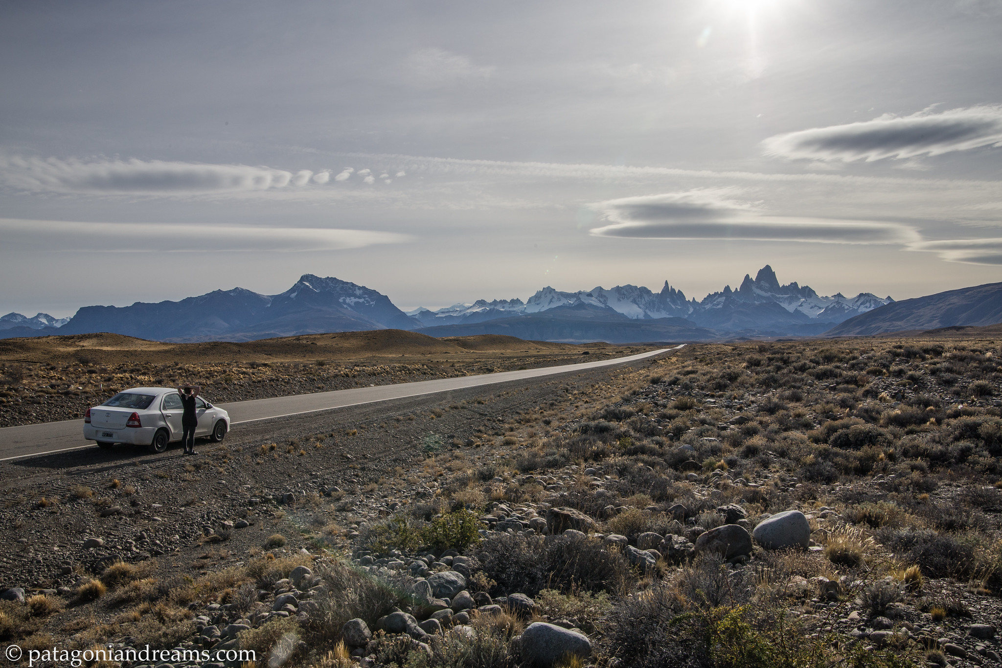 Approaching the Fitz Roy massif from the Ruta 40, Santa Cruz Province, Patagonia, Argentina.