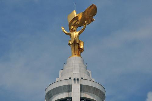 ashgabat turkmenistan gold golden statue tm