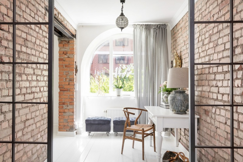 Scandinavian Home With Brick Walls