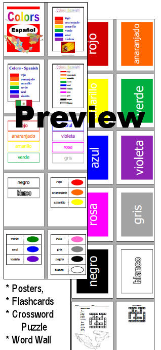 Espanol Colores Colors In Spanish Posters Word Wall F