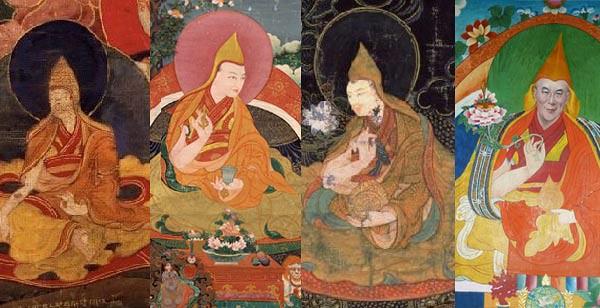 Dari kiri: Dalai Lama Ke-1, Dalai Lama Ke-3, Dalai Lama ke-5, Dalai Lama Ke-14.