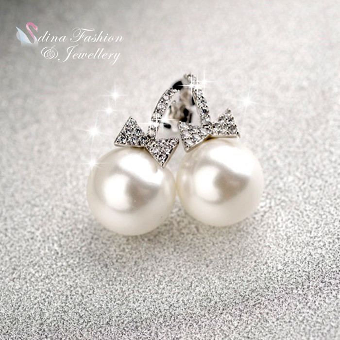 Exquisite Bow Knot Pearl Earrings Stud Earrings Bow Stud Earrings Earrings