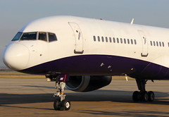 """MONARCH AIRLINES G-MONK Boeing 757 arrival at """"Durham Tees Valley Airport"""" MME England for break up"""