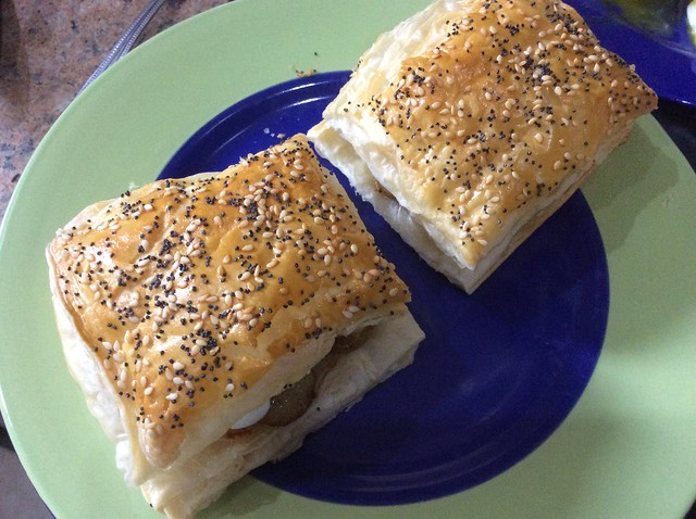 Seedy puff pastry squares