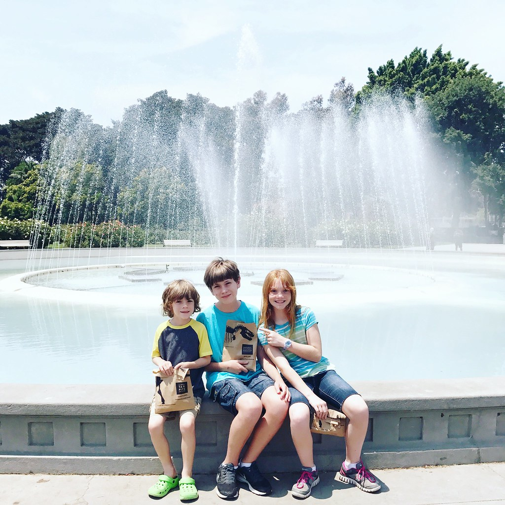 kids by fountain
