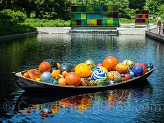 Float Boat (2014) with Koda Study #1 and #2 (2017), Dale Chihuly Exhibit at the New York Botanical Garden