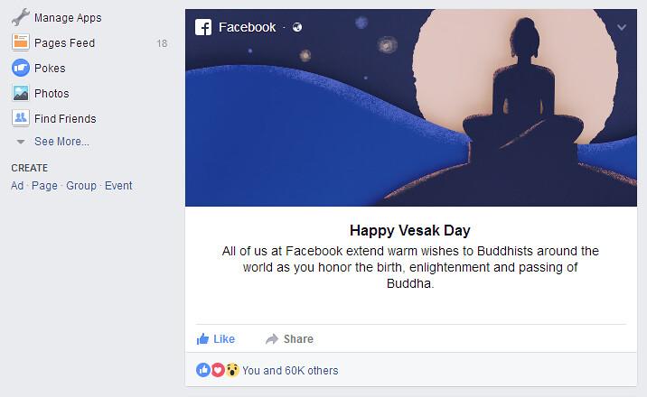 Ucapan selamat Hari Vesak 2017 muncul di halaman News Feed Facebook.