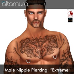 "Altagroup: "" Extreme"" Male nipple Piercing"