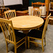 Circular table hardwood extendable kitchen comes with 4 chairs E225 the set