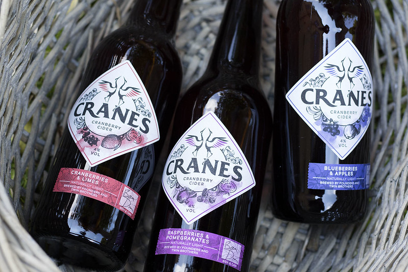 Close up of cider bottles - cranes