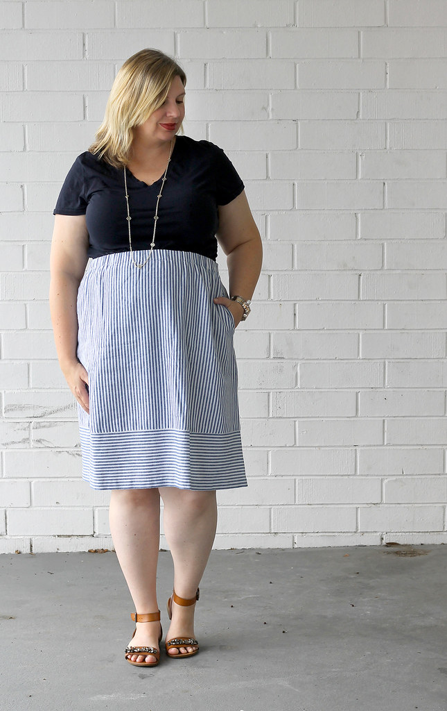 seersucker midi skirt and navy tee 6