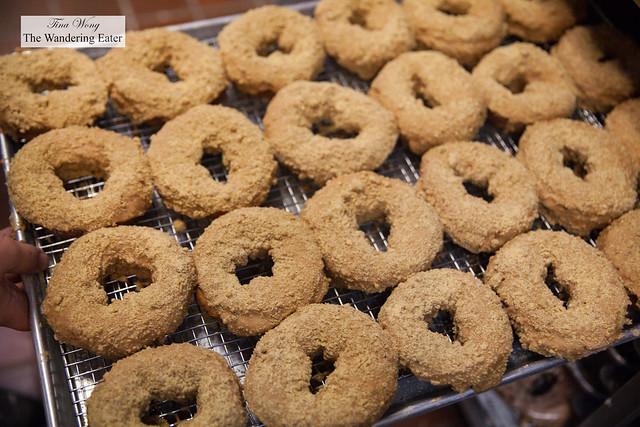 Tray of coffee cake doughnuts