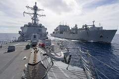 USS Sterett conducts a replenishment-at-sea with USNS Richard E. Byrd.