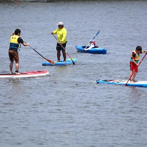 かなり楽しかったですよ。SUP初体験。 #マリンカーニバル #若洲ヨット訓練所 #ヤマハマリン