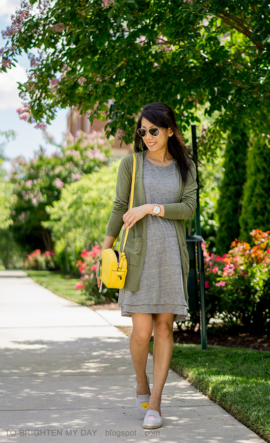 green long cardigan, gray layered tank dress, yellow camera bag, tsum tsum gray espadrilles