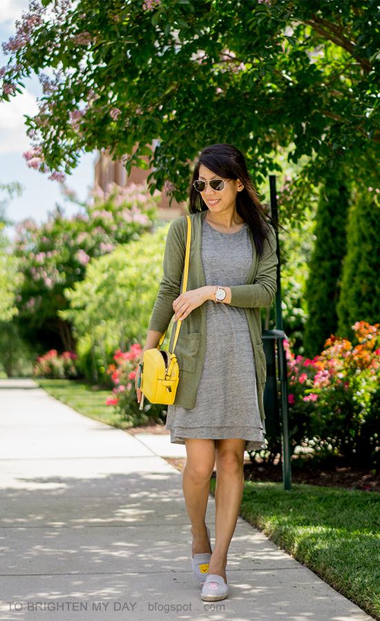 green long cardigan, gray layered tank dress, yellow camera bag, tsum tsum gray espadrilles