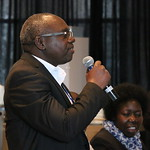 Audience member asking a question of the panel at the launch of the CGIAR Research Program on Fish (FISH). World Aquaculture 2017, Cape Town, South Africa. Photo by Idriss Ali Nassah.